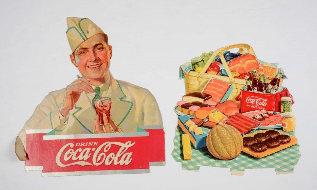 Lot Of 2: Coca-Cola Cardboard Signs.