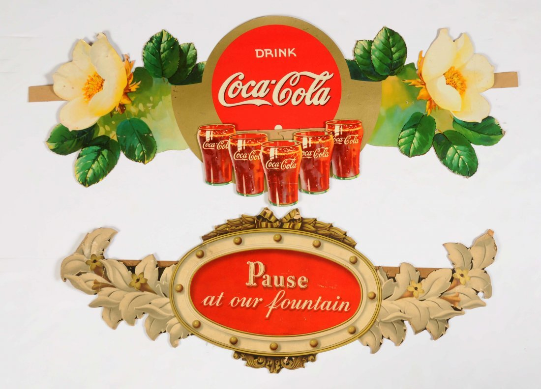 Lot of 2: Coca-Cola Advertising Flower Festoon.