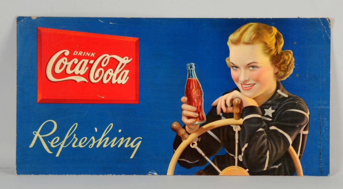 Cardboard Coca-Cola Refreshing Advertising Sign.