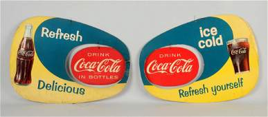 Lot of 2 CocaCola Diecut Cardboard Advertising Signs