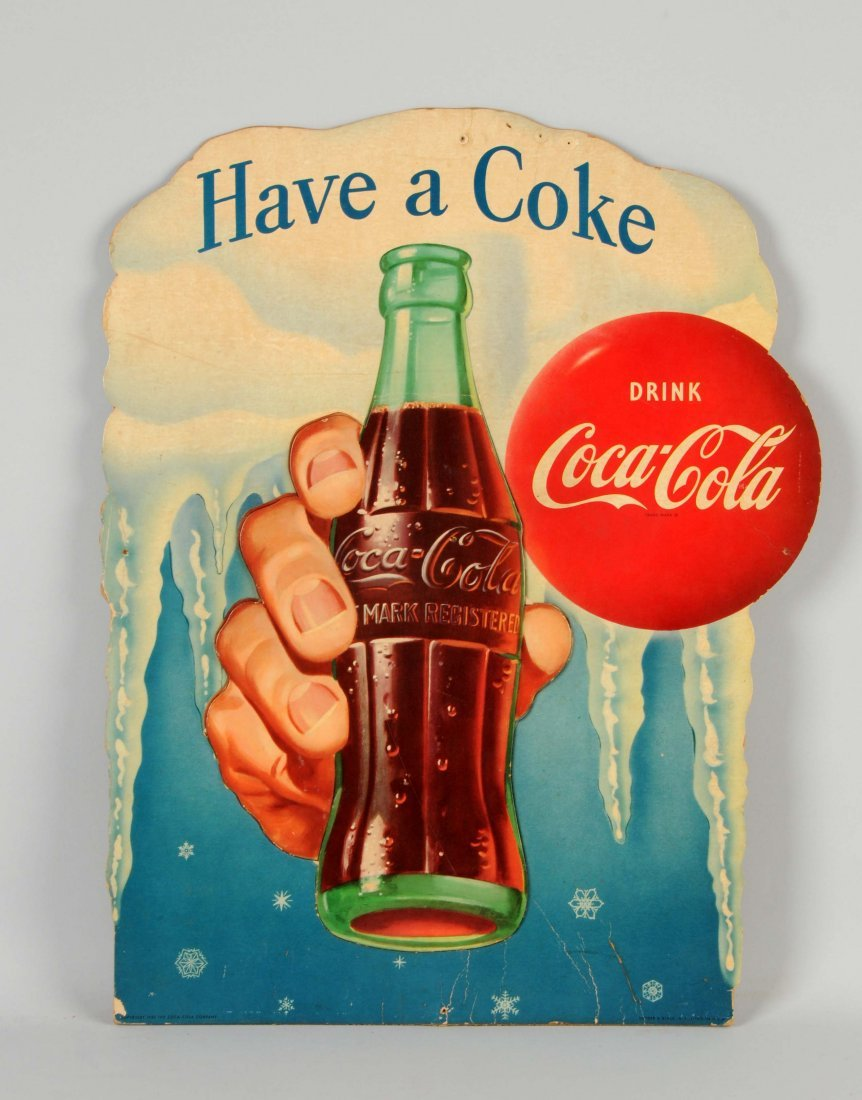 Diecut Cardboard Coca-Cola Advertising Sign.