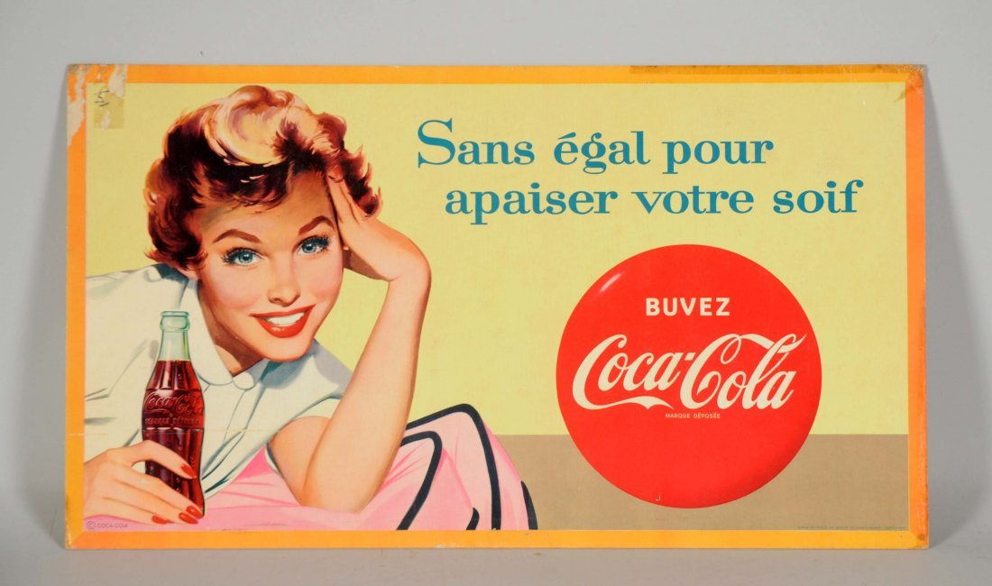 French Coca-Cola Cardboard Advertising Sign.