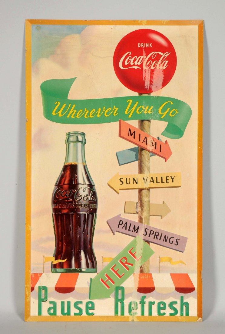 1951 Coca-Cola Cardboard Adverting Sign.