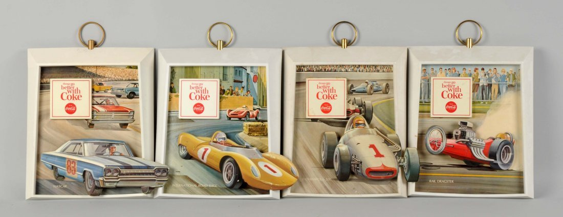 Lot Of 4: Plastic Coca-Cola Race Car Signs.