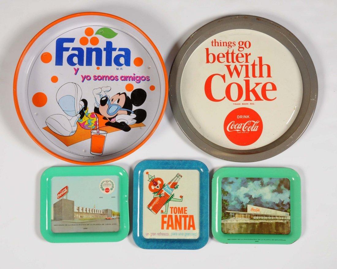 Lot of 5: Coca-Cola & Fanta Advertising Trays.