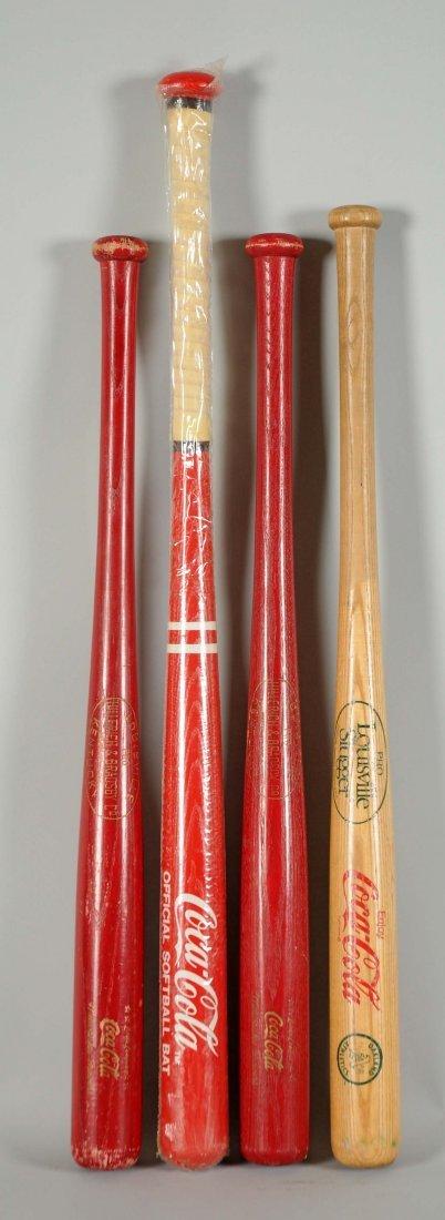 Lot Of 4: Coca-Cola Baseball Bats.