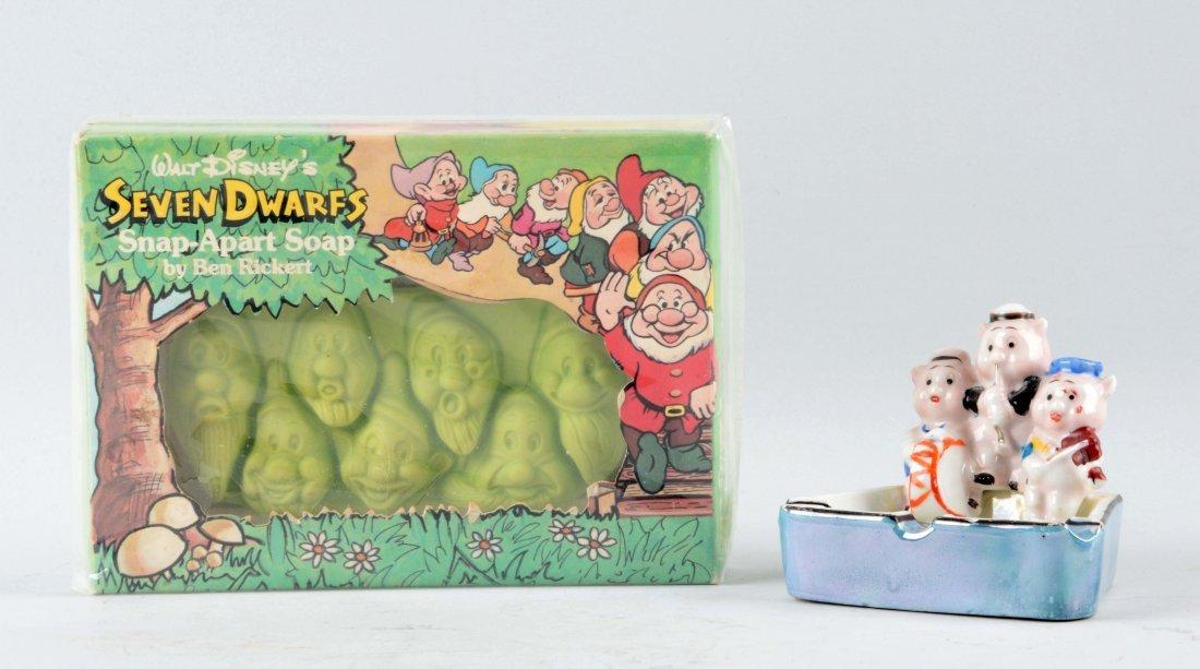 Lot of 2:  Seven Dwarfs Soap Set & Three Little Pigs