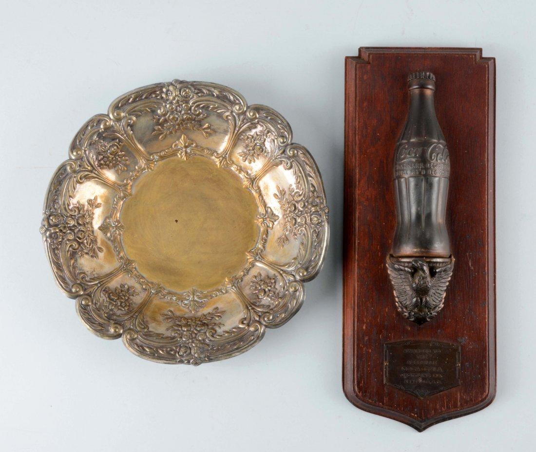Lot Of 2: Coca-Cola Award & Silver Plate.
