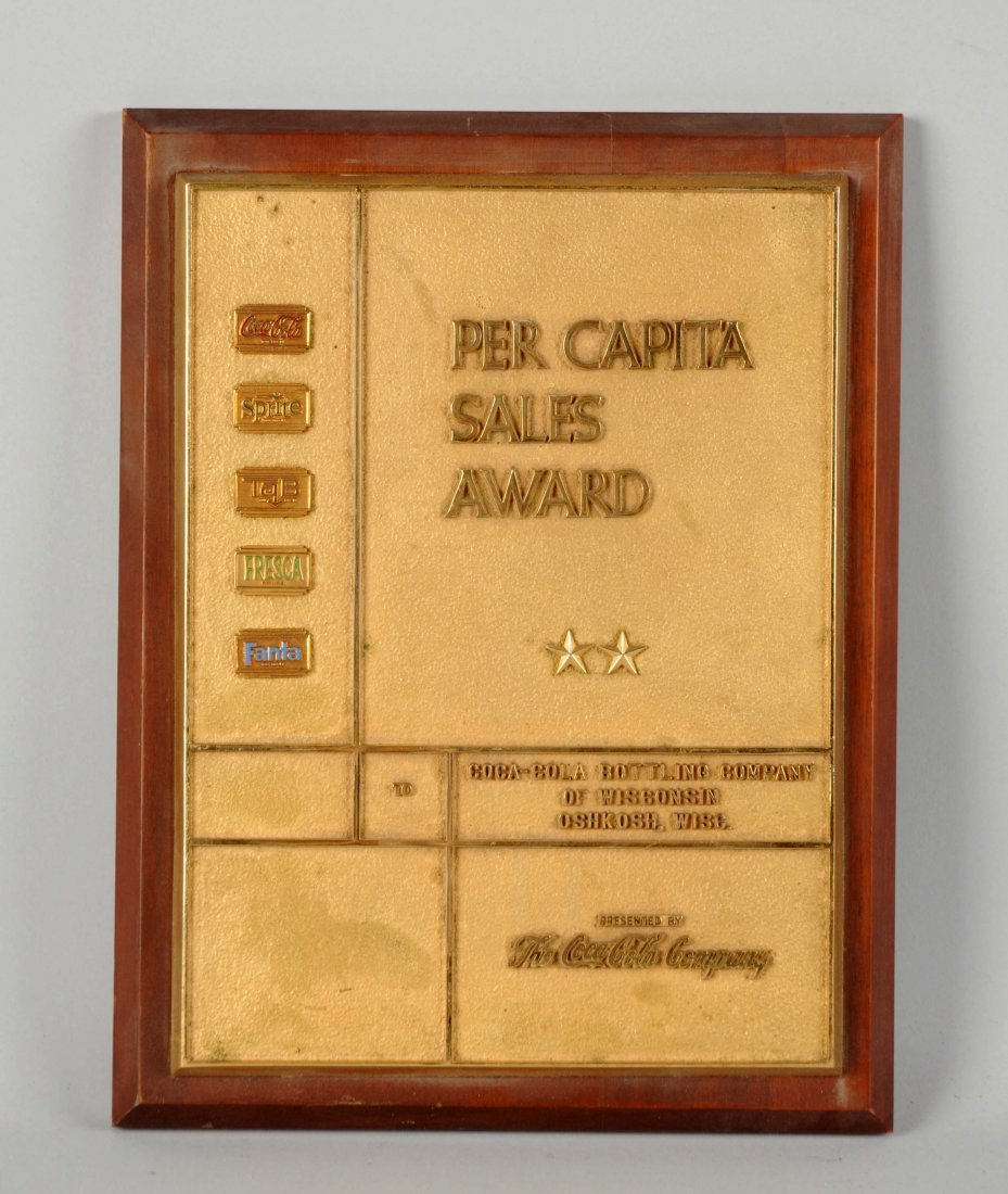 Coca - Cola Bottling Company Sales Award Plaque.