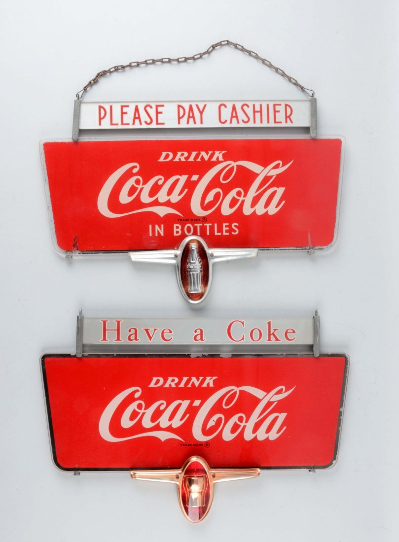 Lot Of 2:  Coca-Cola Glass Signs.