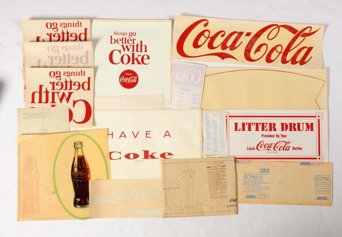 Large Lot of Coca-Cola Advertising Decals.