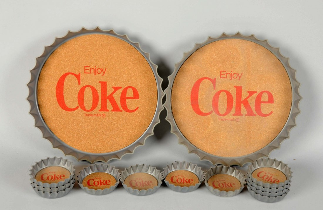 Lot Of 13: Coca - Cola Bottle Cap Coasters & Trays.