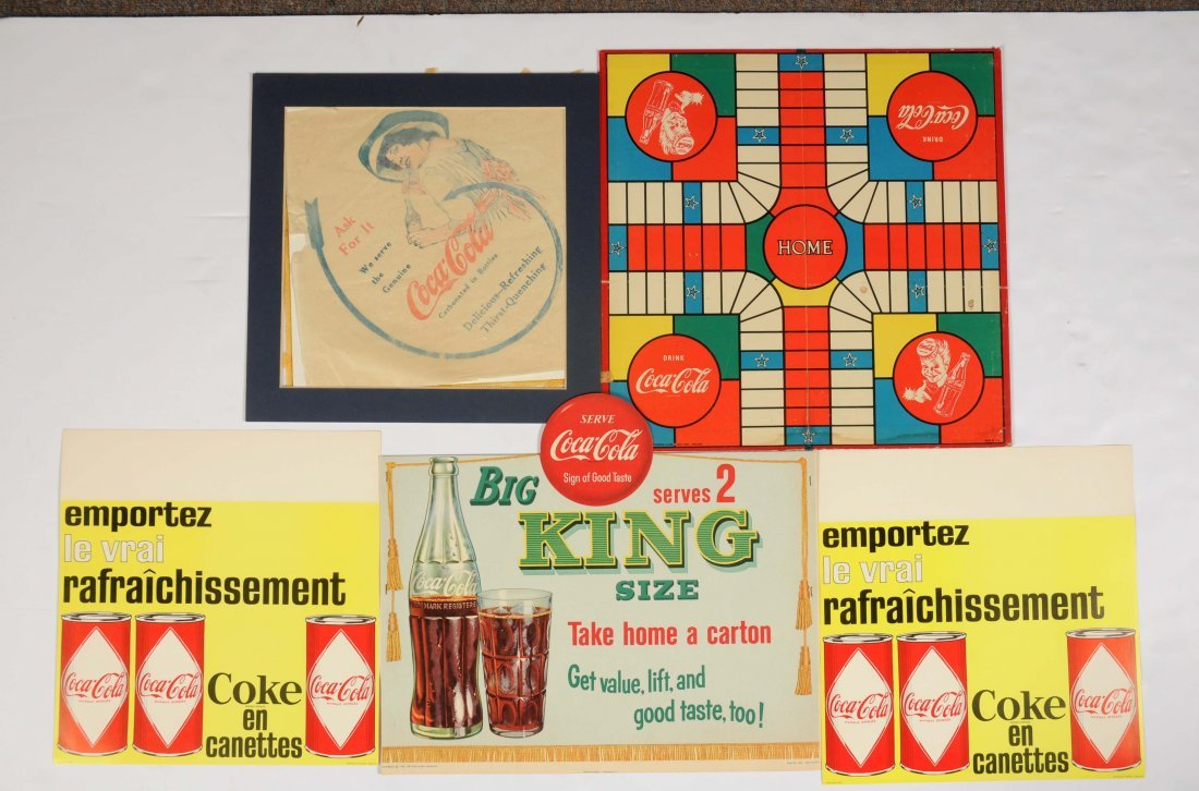 Lot Of Assorted Coca - Cola Cardboard & Paper Signs.