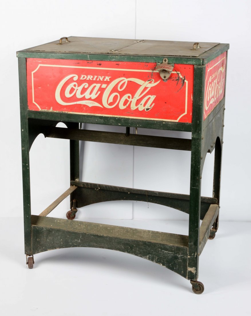 Early Coca-Cola Cooler On Wheels.