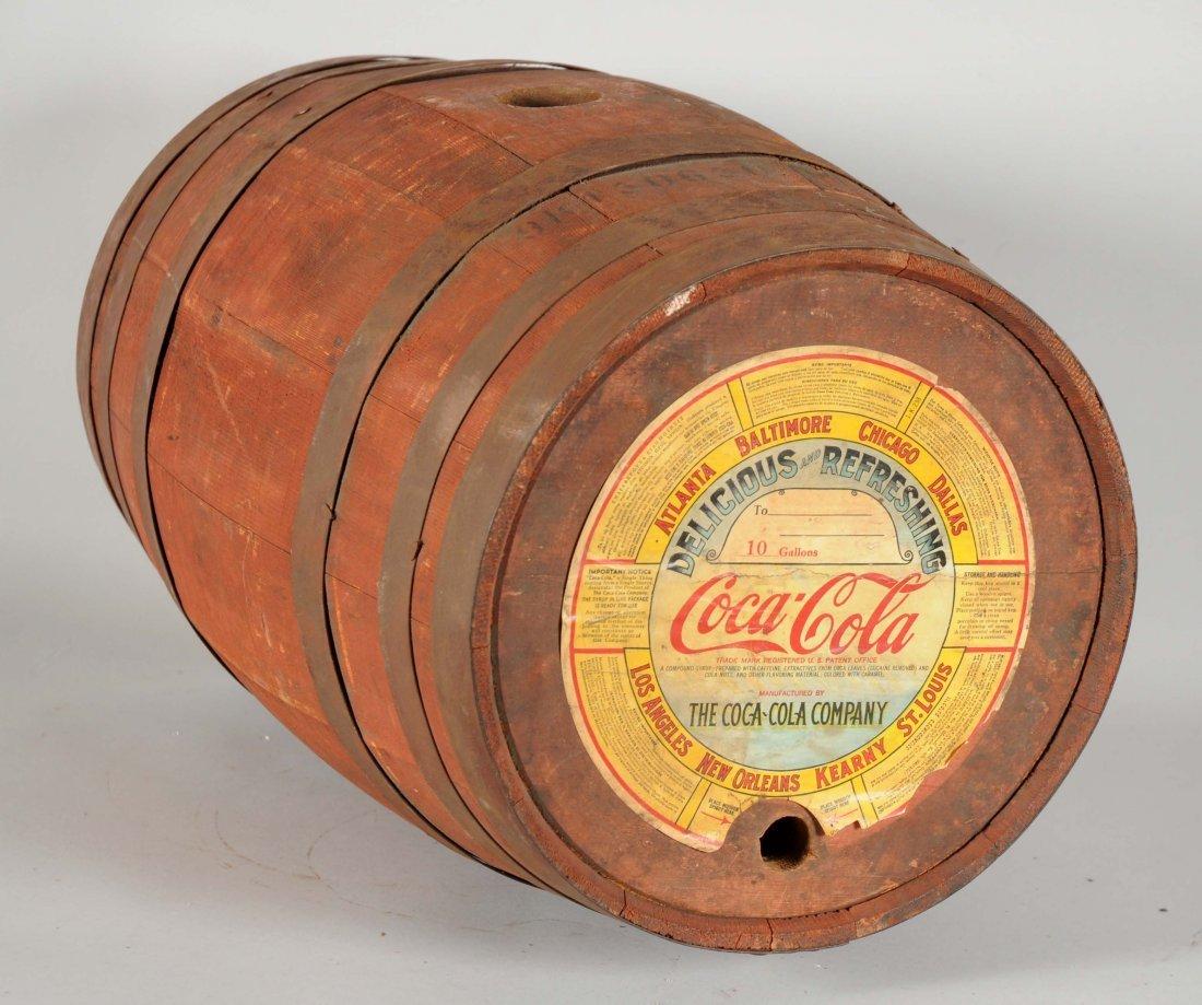 Wooden Coca-Cola Ten Gallon Barrel.