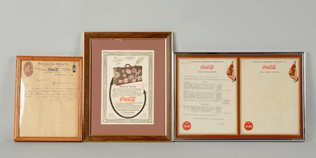 Lot Of 3: Coca-Cola Letterheads & Magazine Ad.