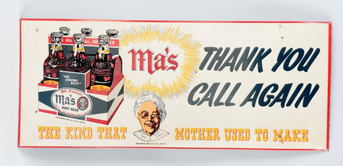 Ma's Root Beer Embossed Tin Advertising Sign.