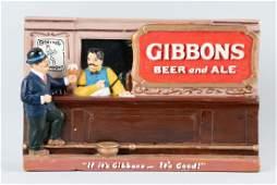 Gibbons Beer Chalkware Back Bar Advertising Display