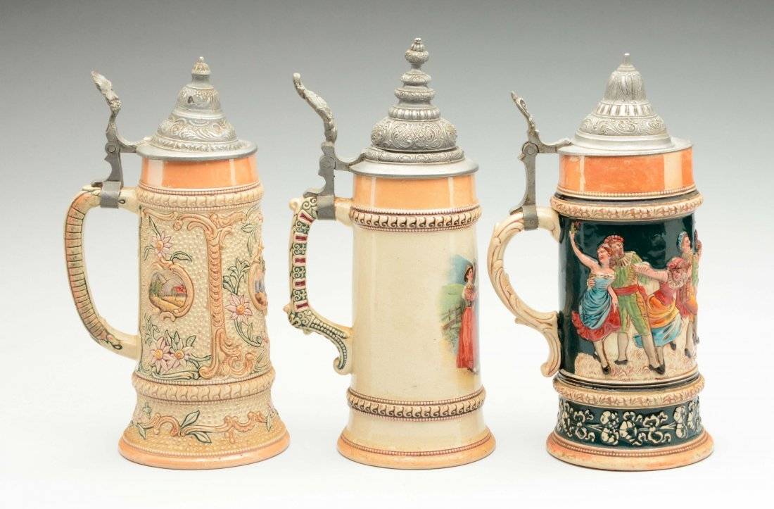 Lot of 3: German Beer Steins. - 2