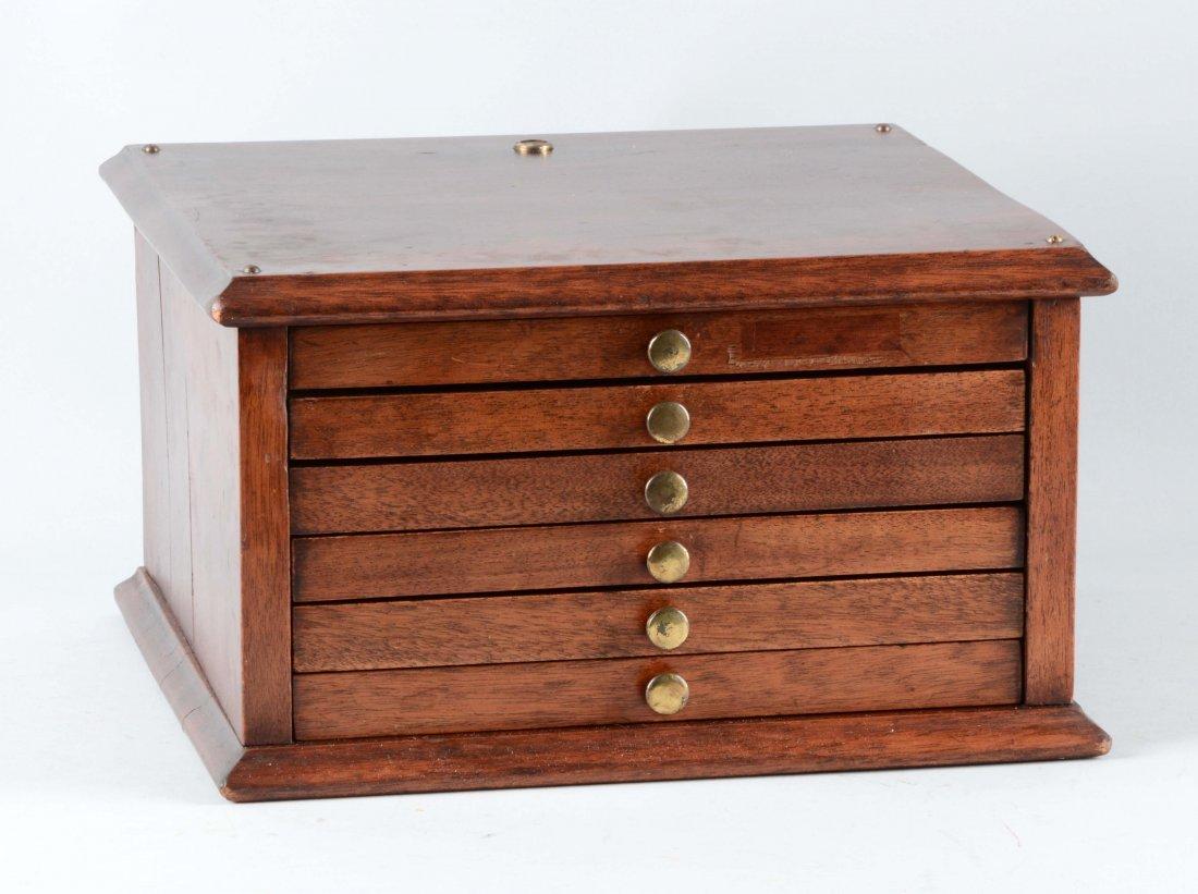 6 Drawer Locking Walnut Dental Cabinet.