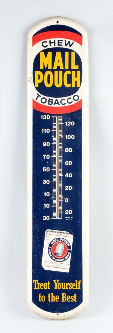 Mail Pouch Tobacco Tin Thermometer.