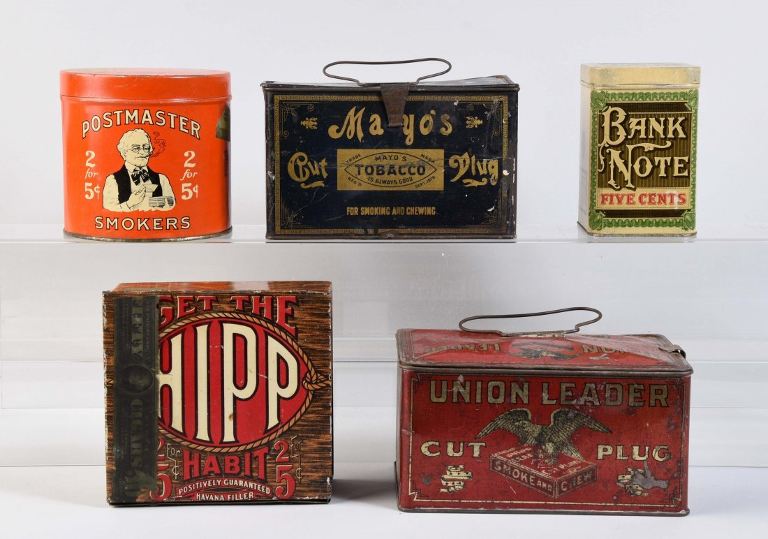 Lot Of 5: Early Tobacco Tins.