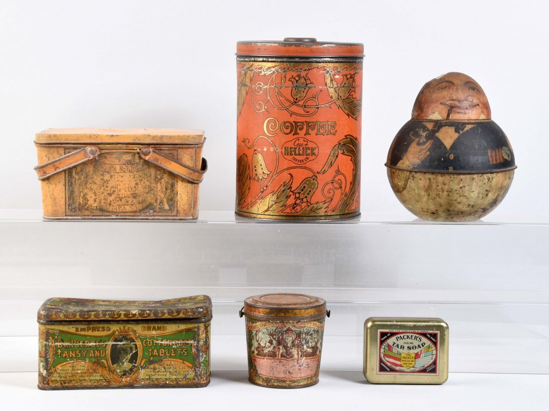 Lot Of 6: Early Advertising Tins.