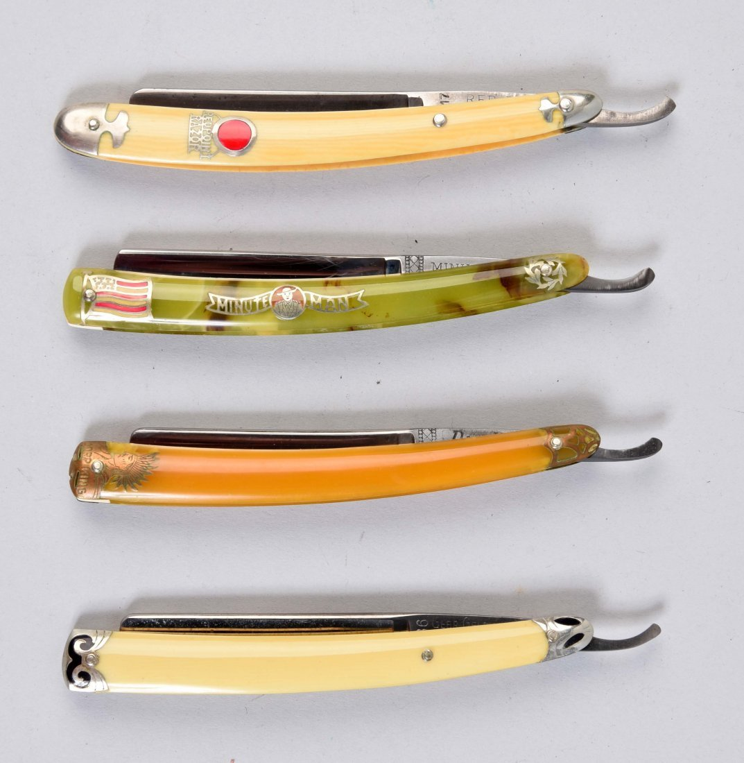Lot Of 4: Celluloid Straight Razors with Colorful