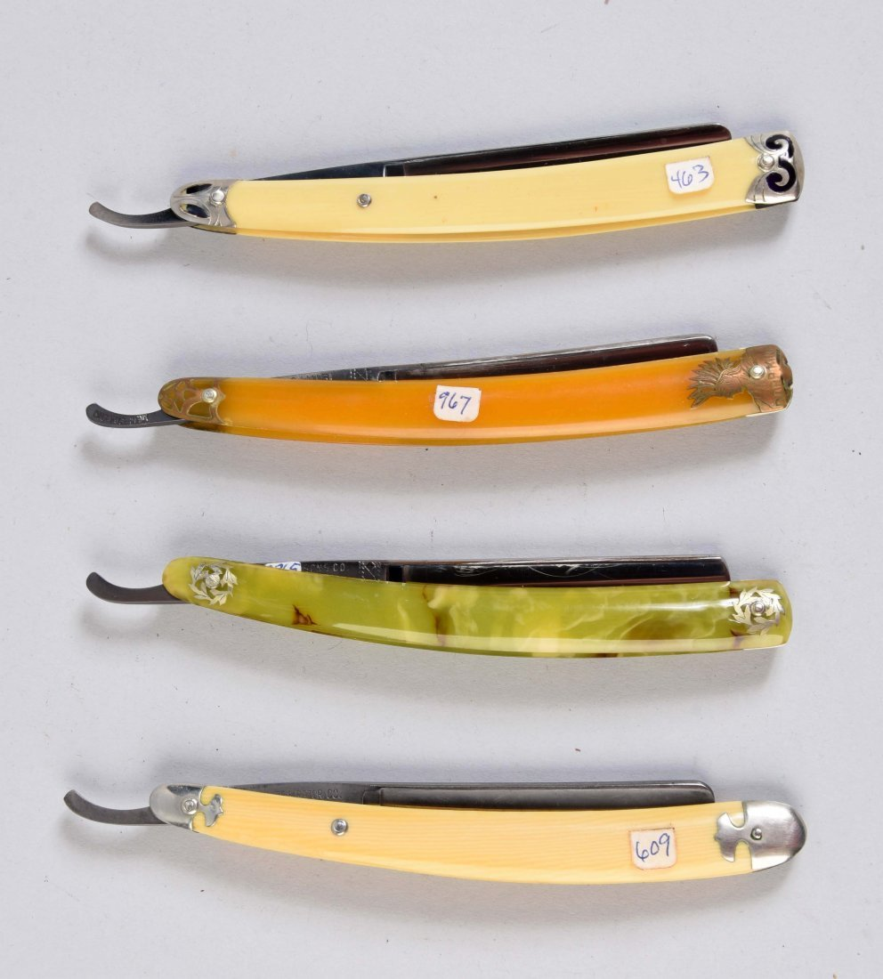 Lot Of 4: Celluloid Straight Razors with Colorful - 2