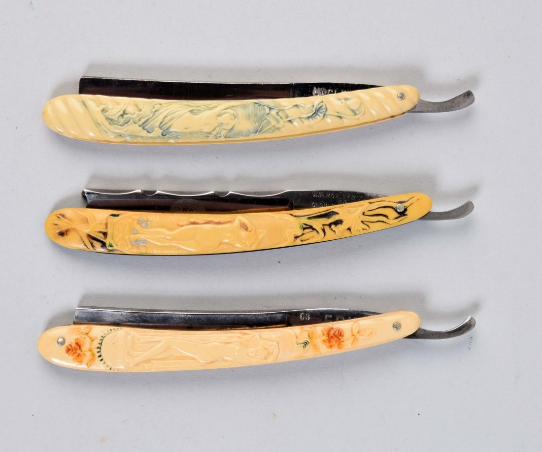 Lot Of 3: Colorful Art Noveau Razors.
