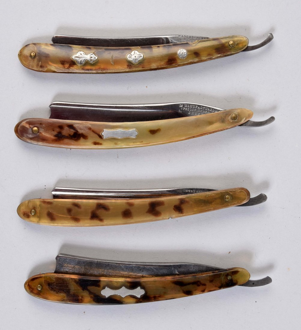 Lot Of 4: Early Spotted Horn Straight Razors.