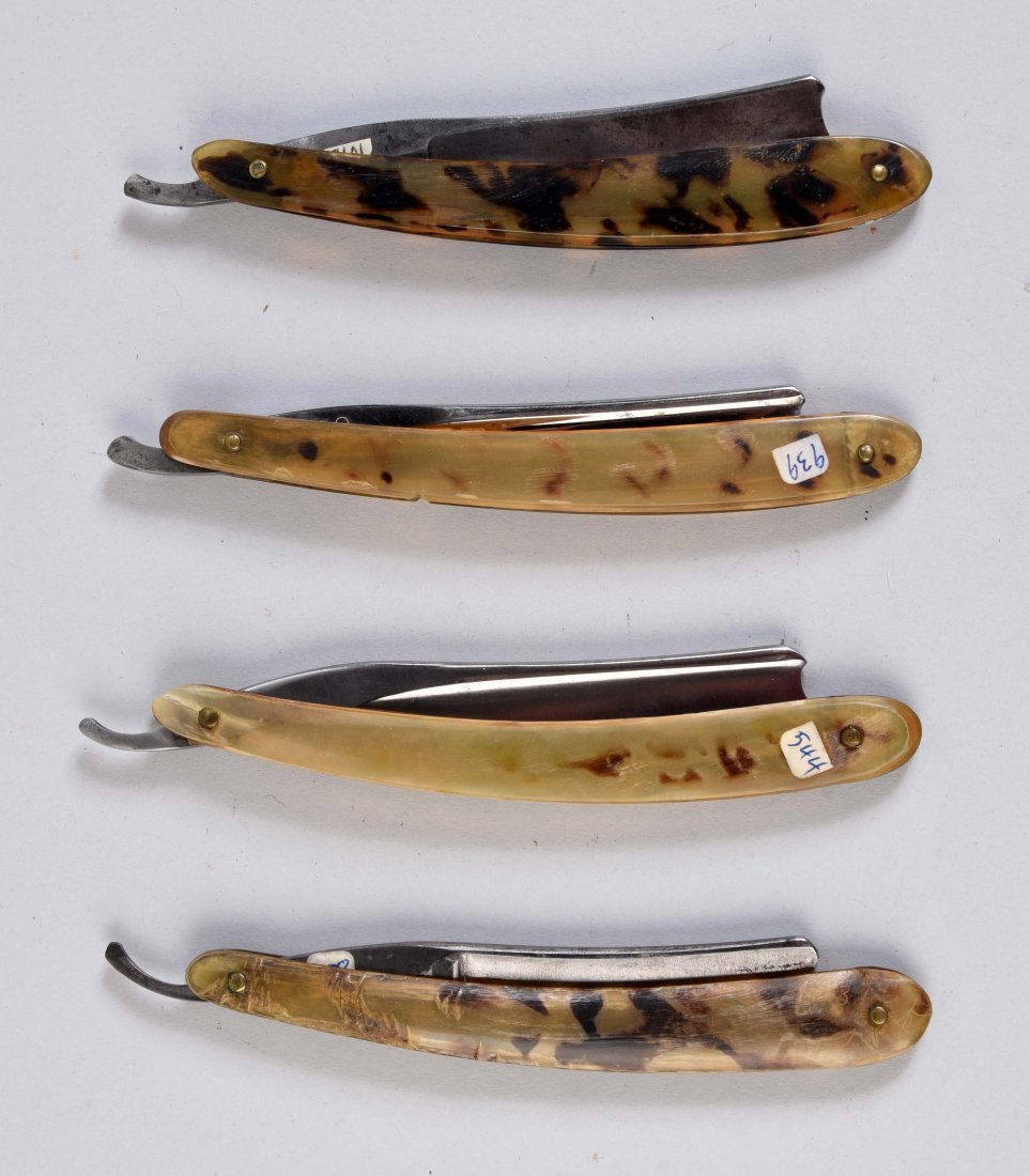 Lot Of 4: Early Spotted Horn Straight Razors. - 2