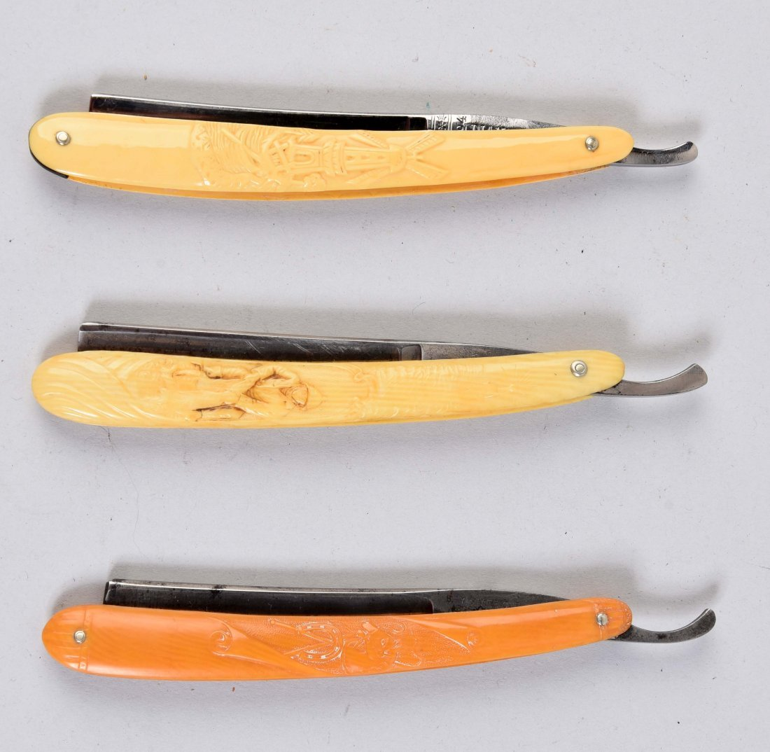 Lot Of 3: Celluloid Straight Razors.