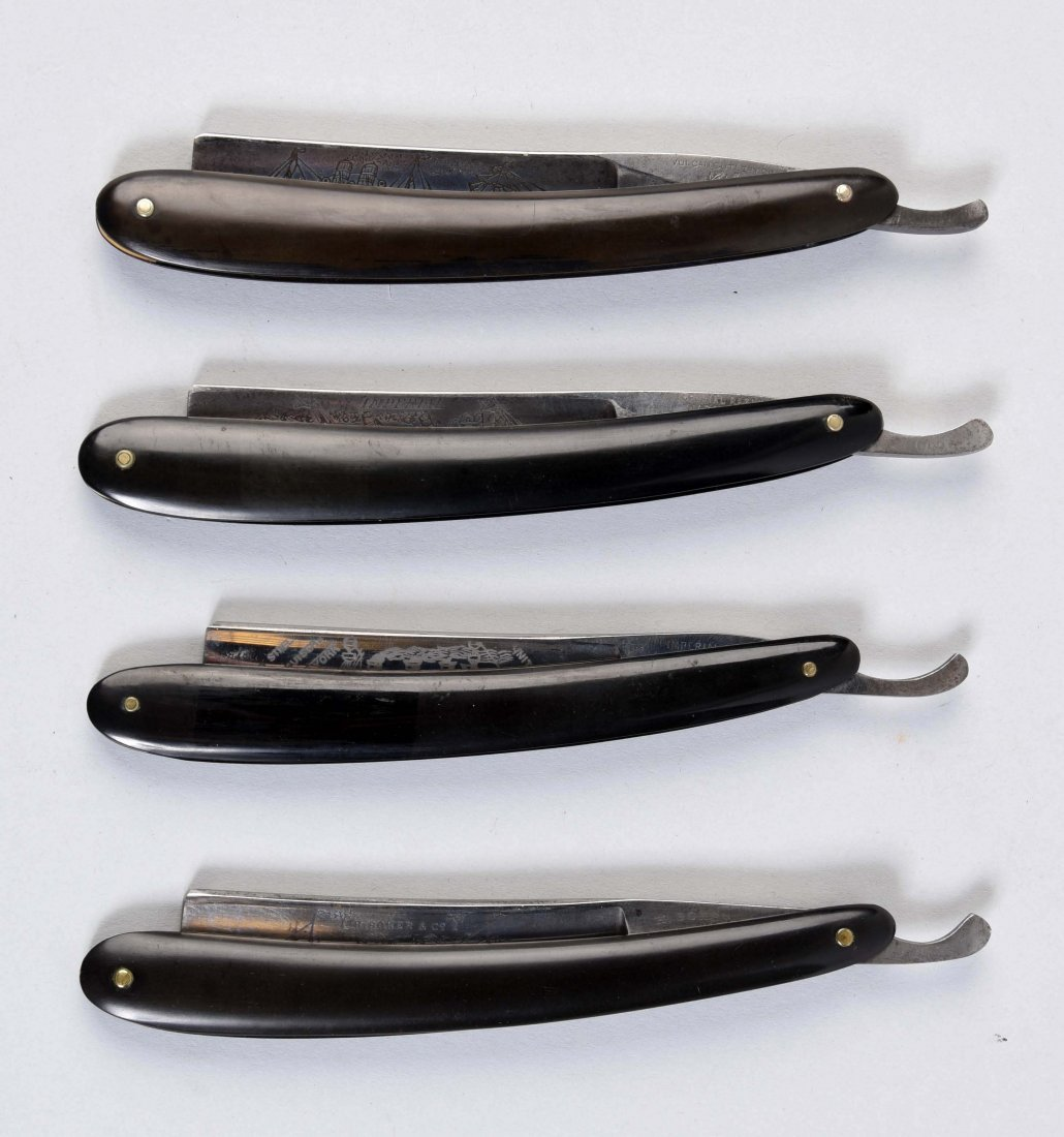 Lot Of 4: Slick Black Handle Straight Razors.