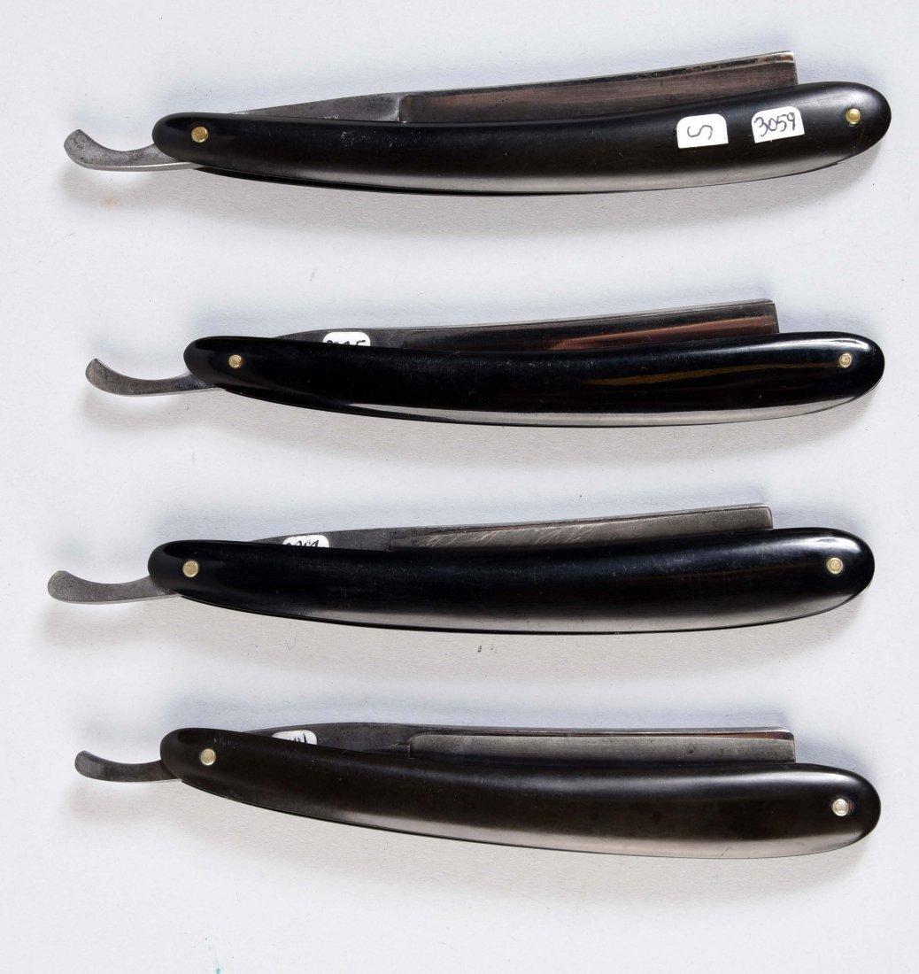 Lot Of 4: Slick Black Handle Straight Razors. - 2