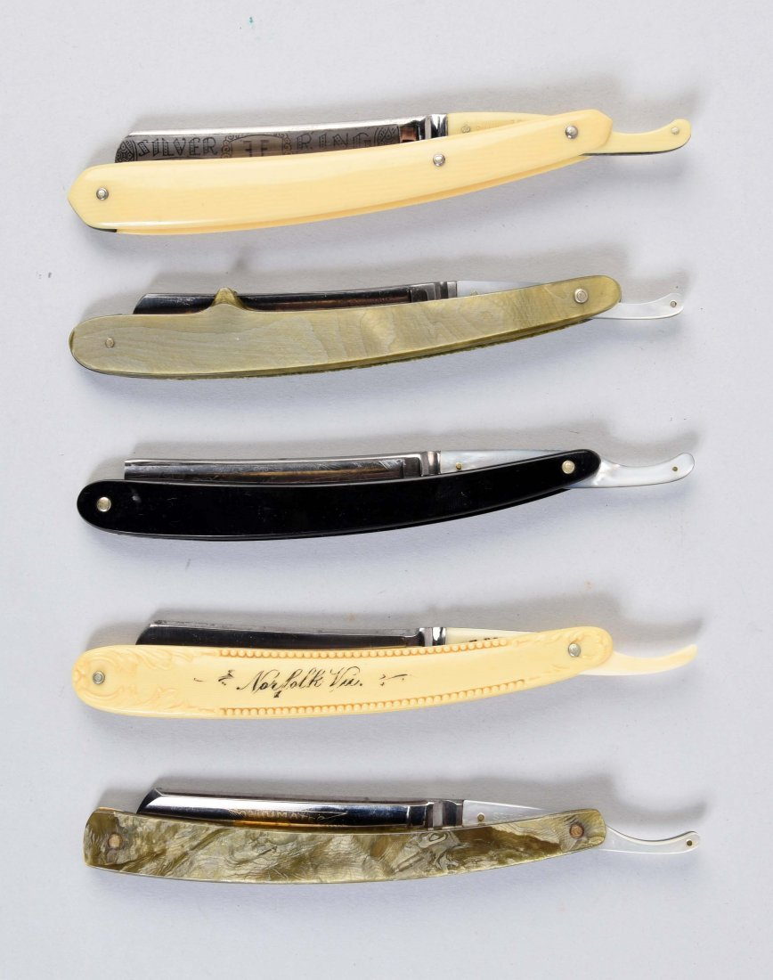 Lot Of 5: Straight Razors With Tang Overlays.