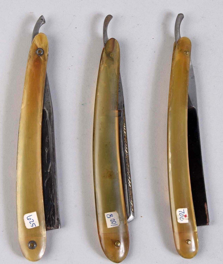 Lot Of 3: Horn Handled Razors. - 2