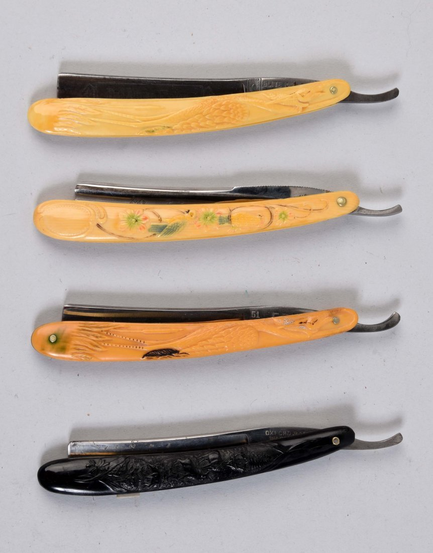 Lot Of 4: Celluloid Handled Straight Razors.