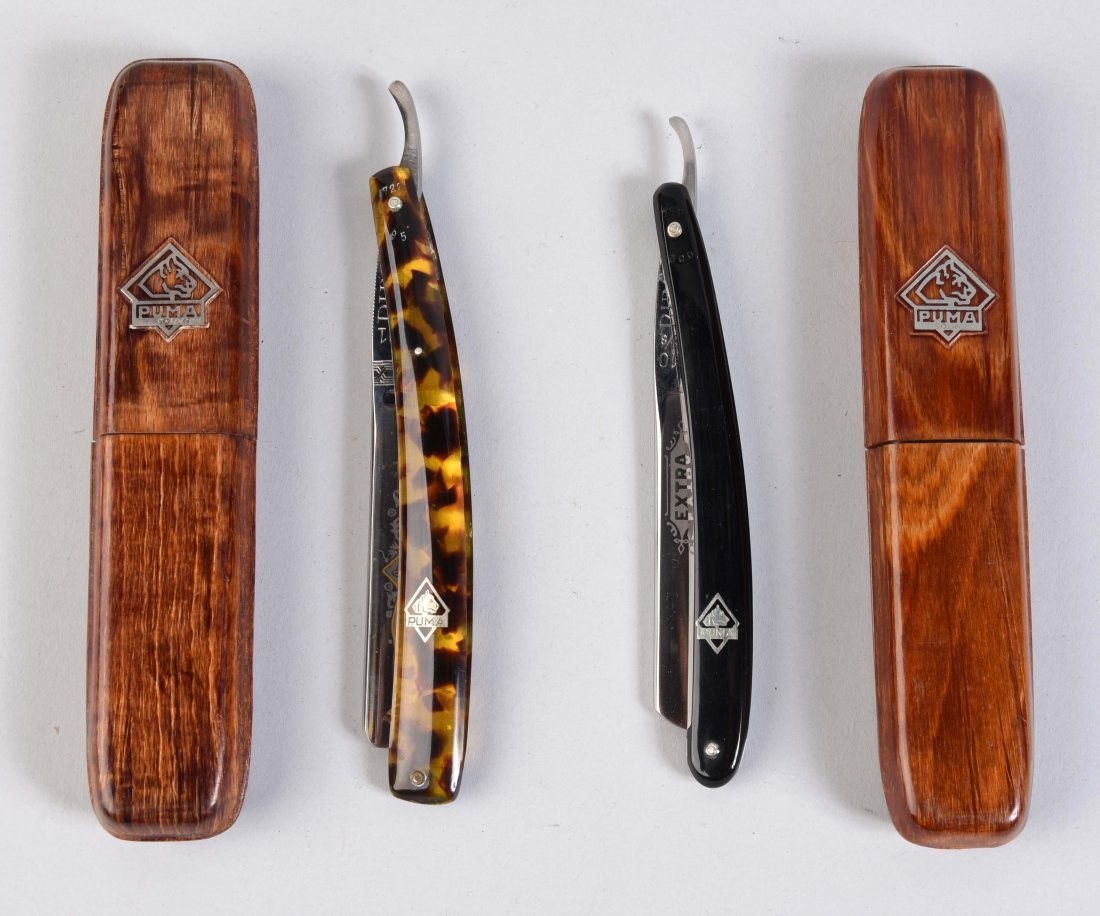 Lot Of 2: Puma Celluloid Handled Straight Razors.