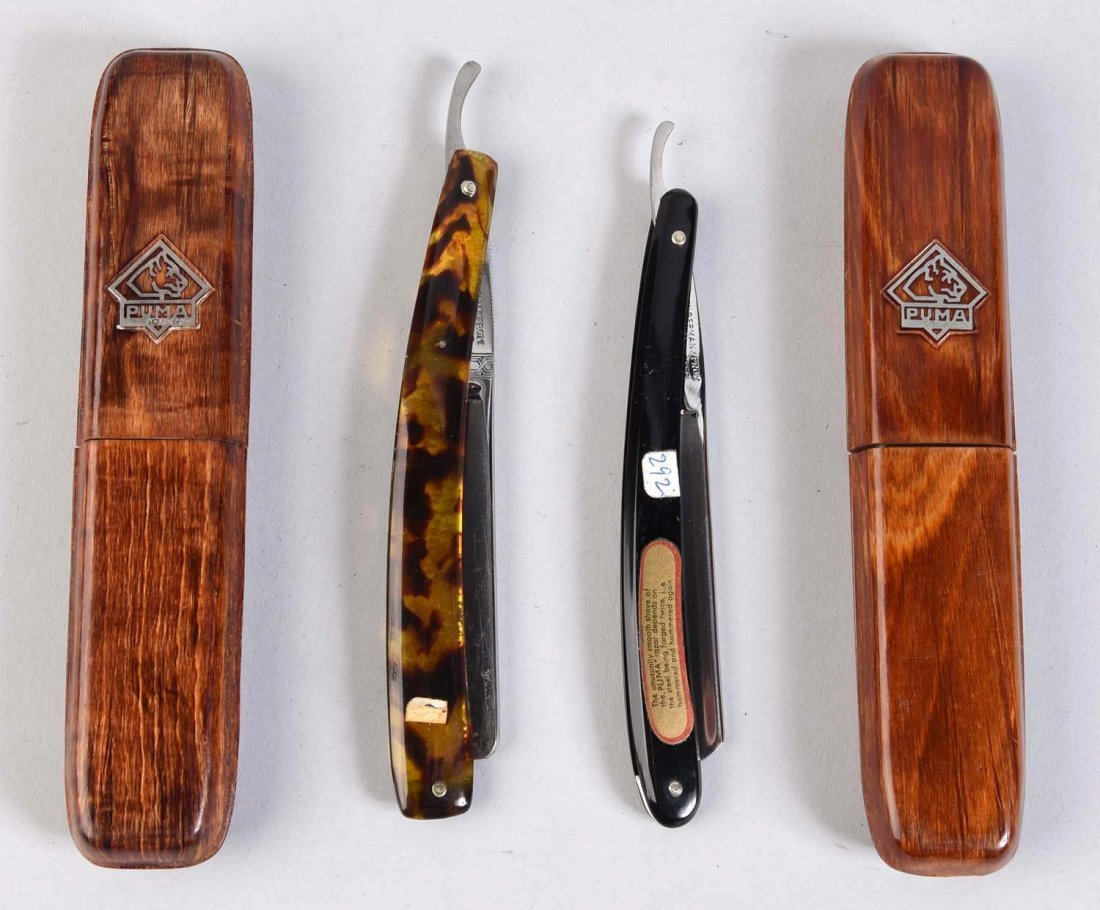 Lot Of 2: Puma Celluloid Handled Straight Razors. - 2
