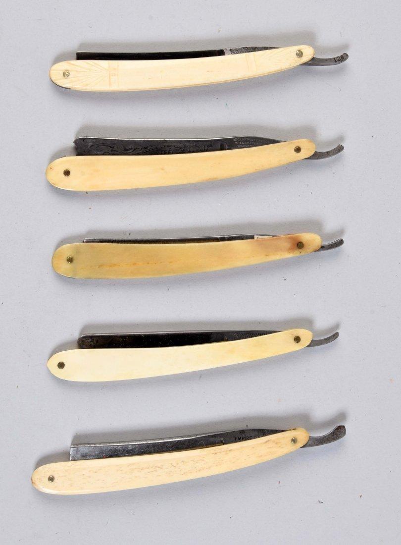 Lot Of 5: Smooth White Bone Handled Straight Razors.