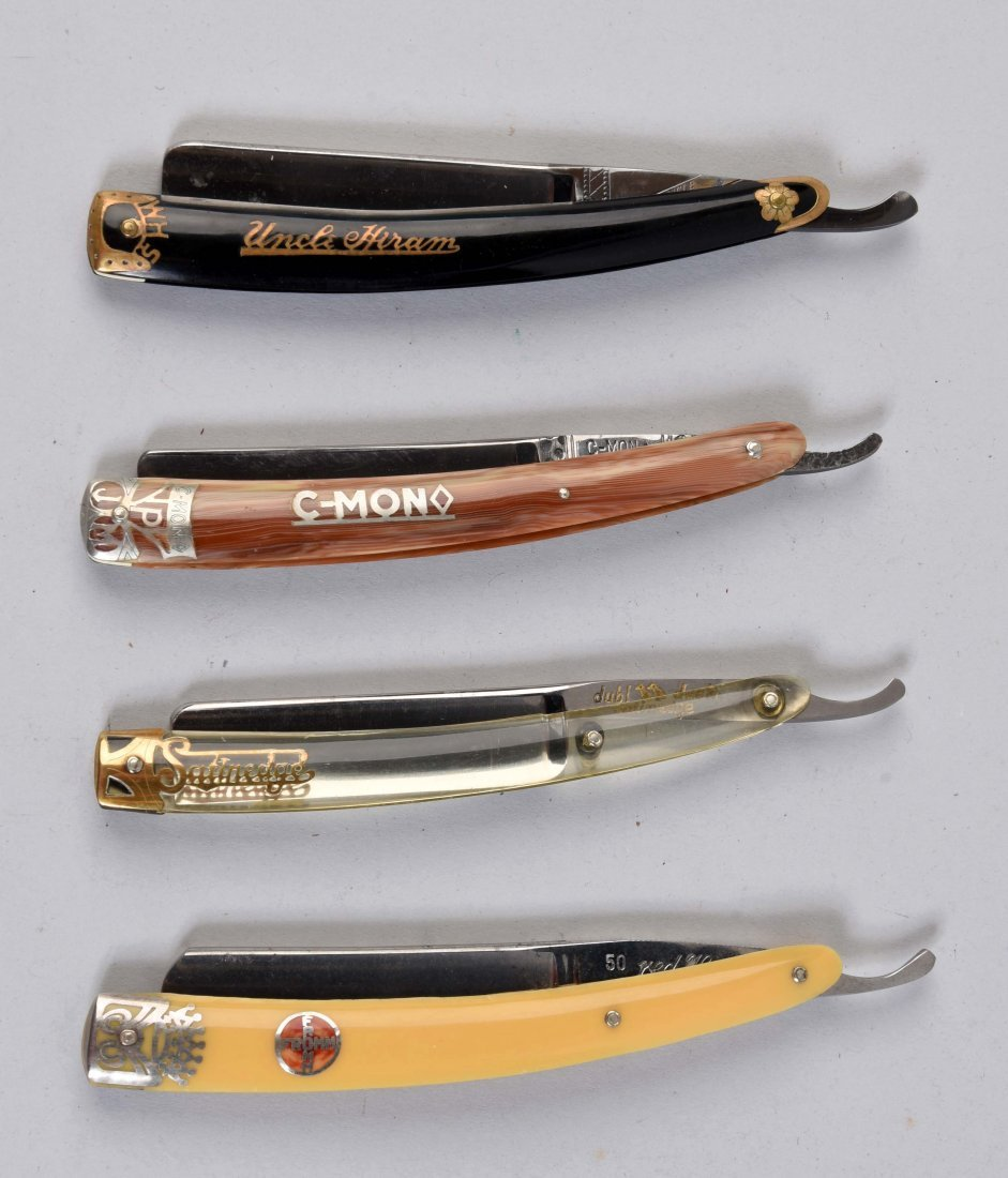 Lot Of 4: Colorful Celluloid Handled Straight Razors.