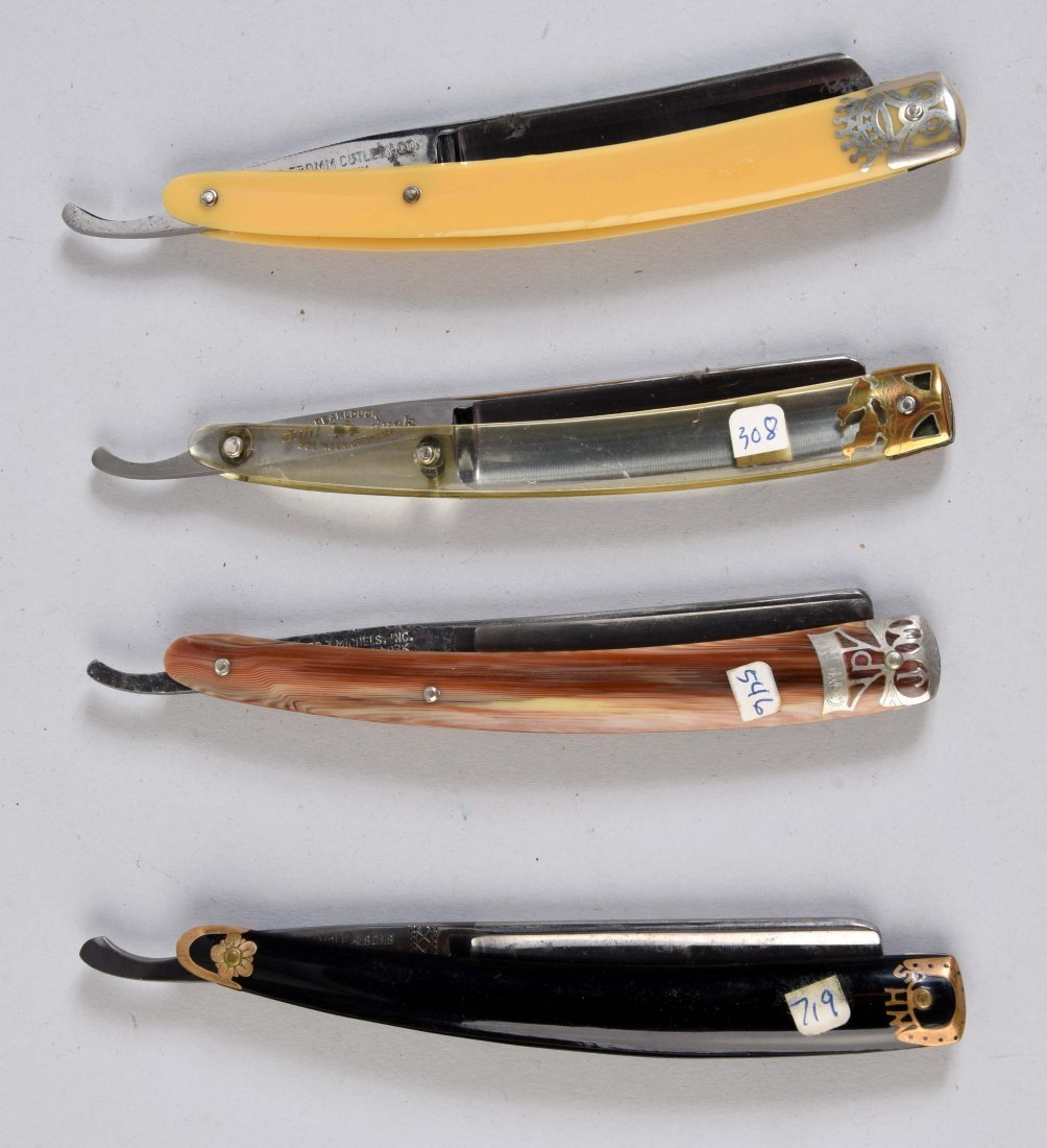 Lot Of 4: Colorful Celluloid Handled Straight Razors. - 2