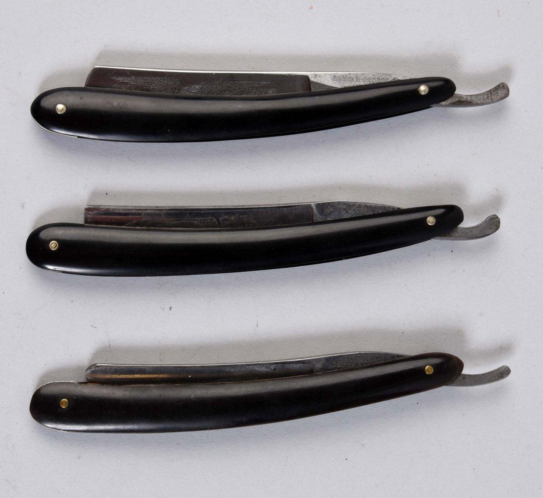Lot of 3: Slick Black Handle Straight Razors.