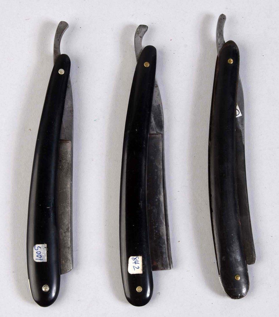 Lot of 3: Slick Black Handle Straight Razors. - 2