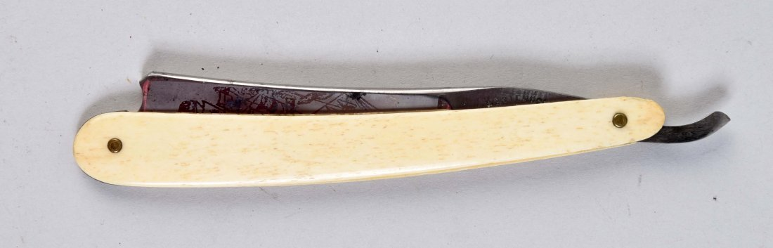 Smooth White Bone Handled Straight Razor.