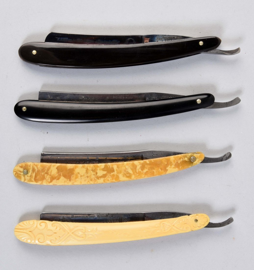 Lot Of 4: Various Straight Razors With Etched Blades.