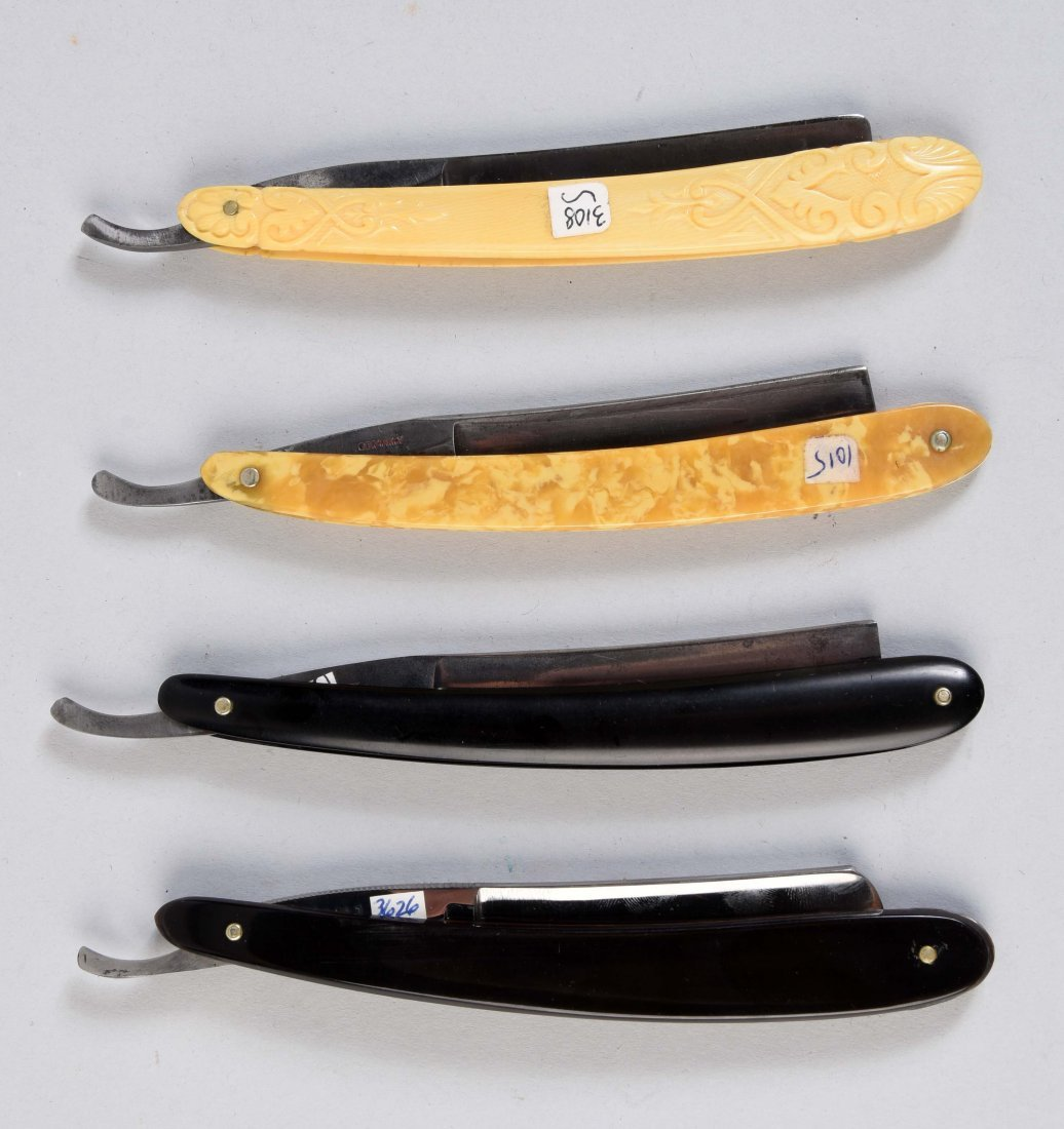 Lot Of 4: Various Straight Razors With Etched Blades. - 2