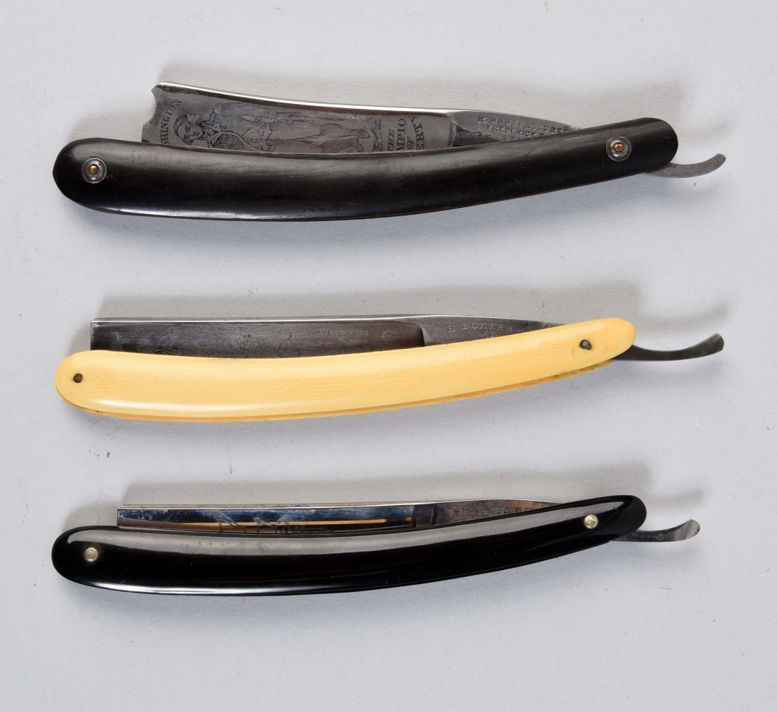 Lot Of 3: Celluloid Straight Razors With Etched Blades.