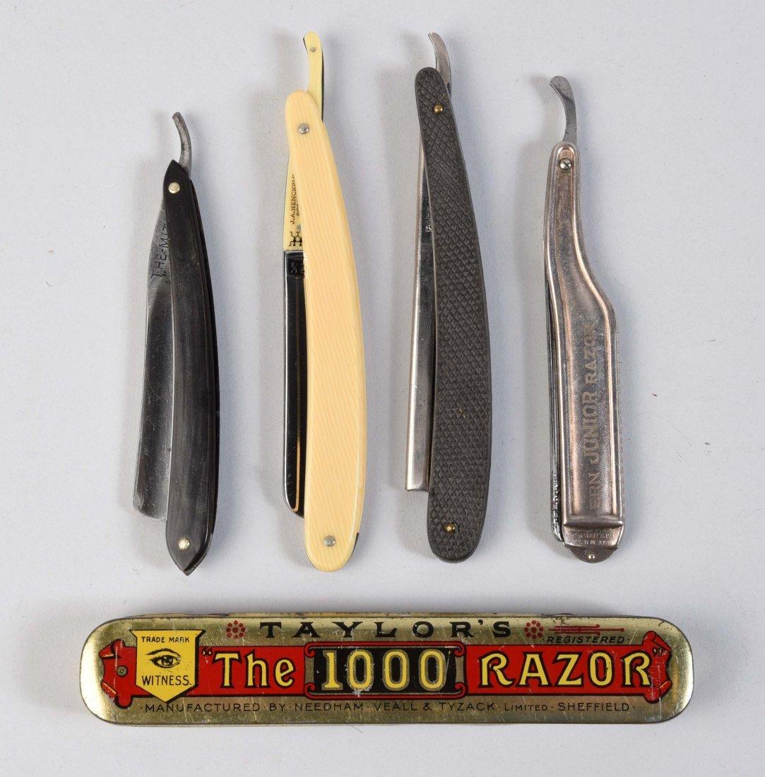 Lot Of 5: Four Straight Razors & a Razor Tin.
